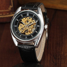 GOER brand fashion men s mechanical watches Sports waterproof Luminous Leisure Leather Skeleton Automatic Wrist watch