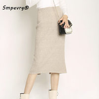 Smpevrg autumn winter women skirt long style cashmere knit skirt woman office lady elastic waist pencil skirt slim sexy clothing