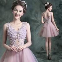 Robe de Soiree Elegant Pink Lace Short Evening Dress 2016 Sexy V Neck Appliques Tulle Evening Gowns Vestido de Festa Curto