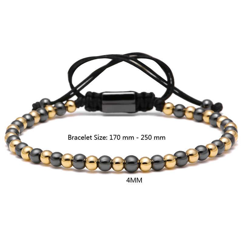 Mcilroy słynnej marki podwójne kolor mężczyźni bransoletka 4mm ze stali tytanu okrągłe koraliki Macrame plecione bransoletki dla mężczyzn dla kobiet prezent