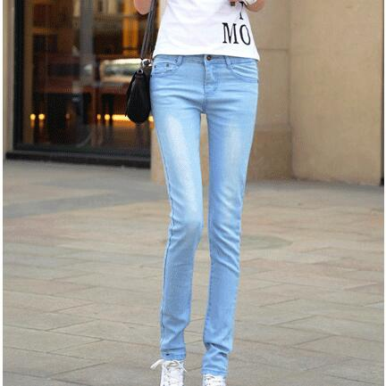 #1319 Korean Light blue Elastic jeans women Fashion Pencil pants Skinny woman Pantalon femme Pantalones mujer