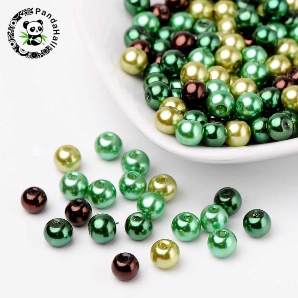 """4 מ""""מ 6 מ""""מ 8 מ""""מ מעורב צבע Pearlized זכוכית פרל חרוזים עבור תכשיטי ביצוע חור: 1 מ""""מ"""