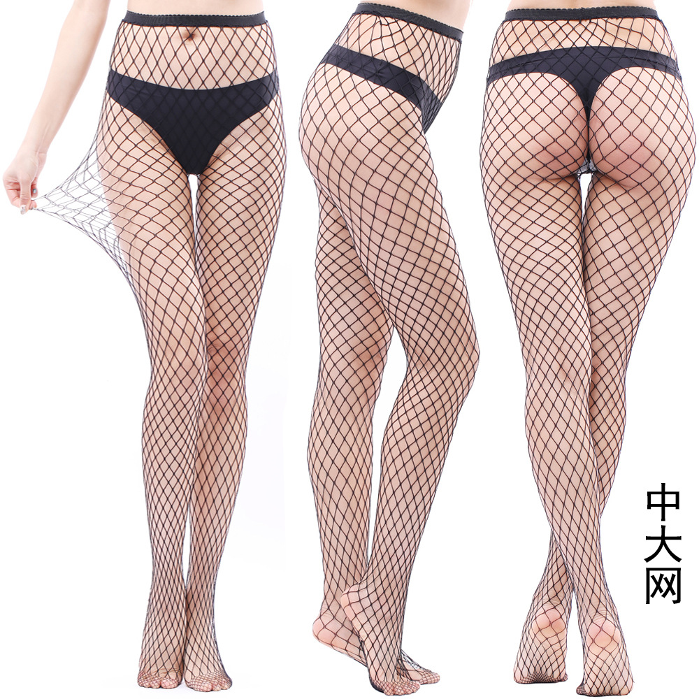 Women Fishnet Pattern Lady Nylon High Waist   Leggings   Fish Net Hollow out Sexy Female Mesh Black