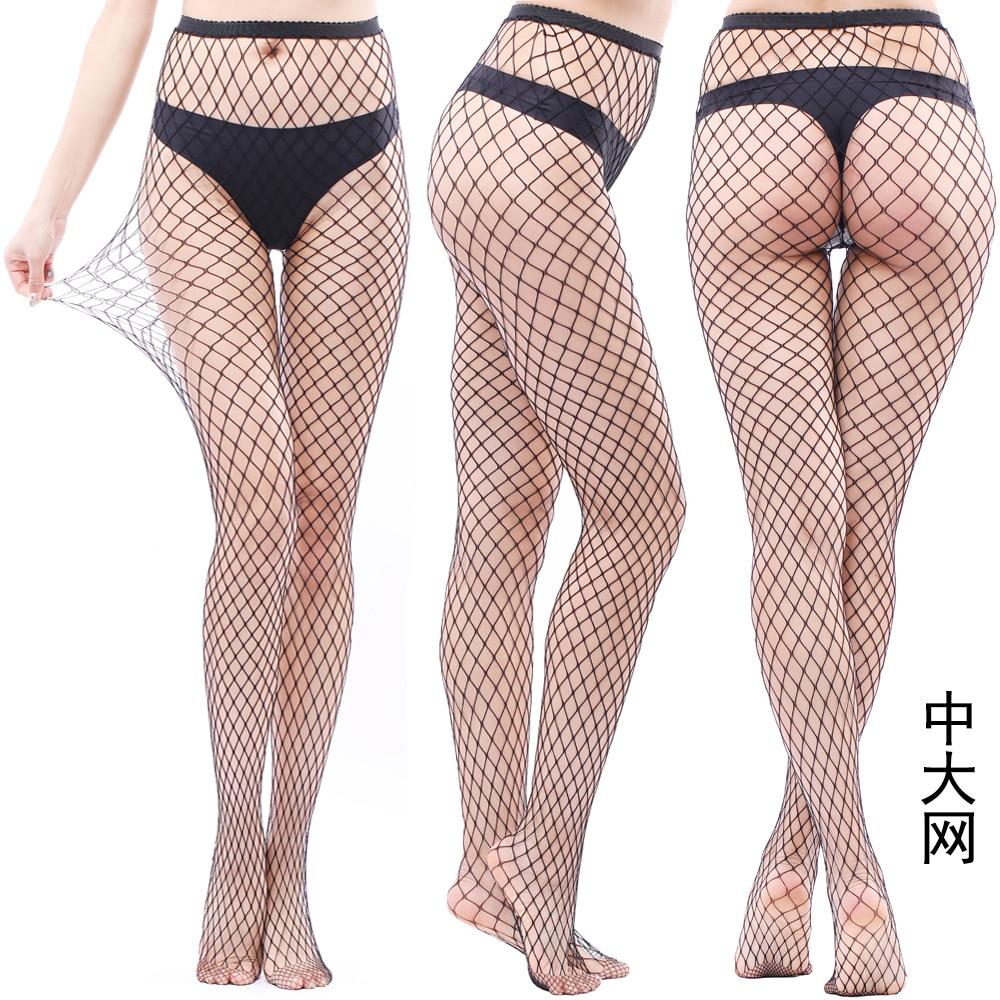 Women Fishnet Pattern Lady Nylon High Waist   Leggings   Fish Net Hollow out Sexy Female Mesh Black