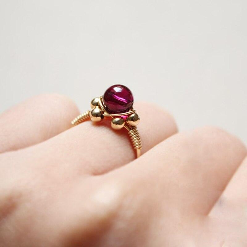 Fait à la main naturel 5A grenat anneaux personnalisé 14 or rempli cadeau d'anniversaire personnalisé Anillos Mujer Bague Femme anneaux pour les femmes - 5