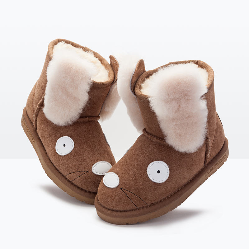 T.S. kid boots  with wool winter warm girls boots anti slip and waterproof toddler shoes cute mouse kids snow boots Size28-38 babyfeet new winter warm boots newborn baby boys girls cute shoes infant toddler soft sole anti slip snow booties size3 5 11