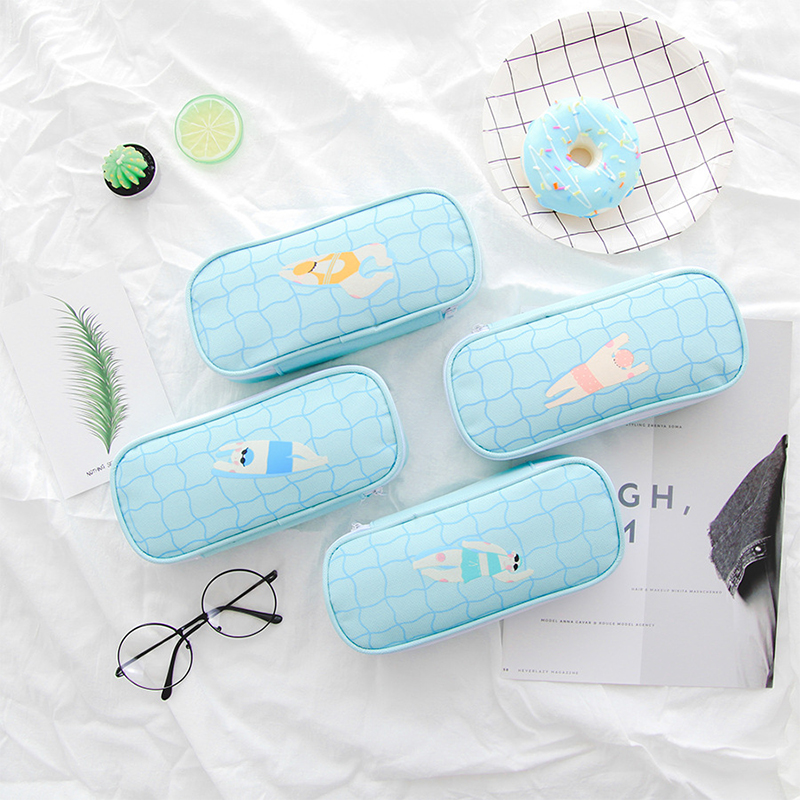 Pencil Case Creative New Pencil Cases Pen Bag To School Supplies Box Pouch Pen Boxes For Student Kawaii Pouch Canvas Bags big capacity high quality canvas shark double layers pen pencil holder makeup case bag for school student with combination coded lock