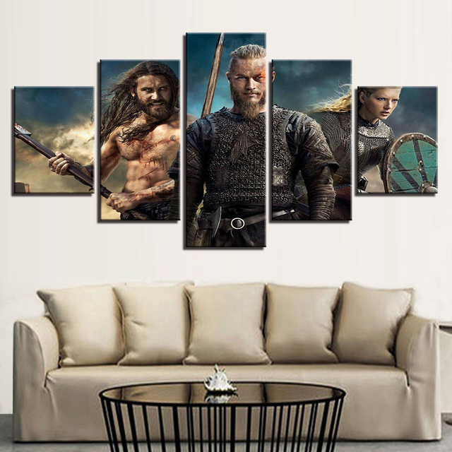 5 Pieces Wall Art Pictures Modern Homes Decor Canvas HD Prints Vikings Paintings Livings Room TV Series Posters Modular Bedroom