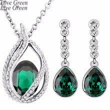 Новая мода королева Кейт свадебные 18KGP австрийский кристалл слеза капли Ювелирные наборы ожерелье серьги набор 80042