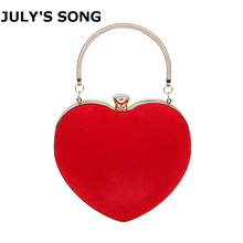цена на JULY'S SONG Evening Bags Heart Shaped Diamonds Red/Black Chain Shoulder Purse Day Clutch Bags For Wedding Party Banquet Bag