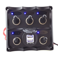 LED Marine Toggle Switch Panel Switches Waterproof Yacht RV Boat Cockpit Control Switch Car Dual USB