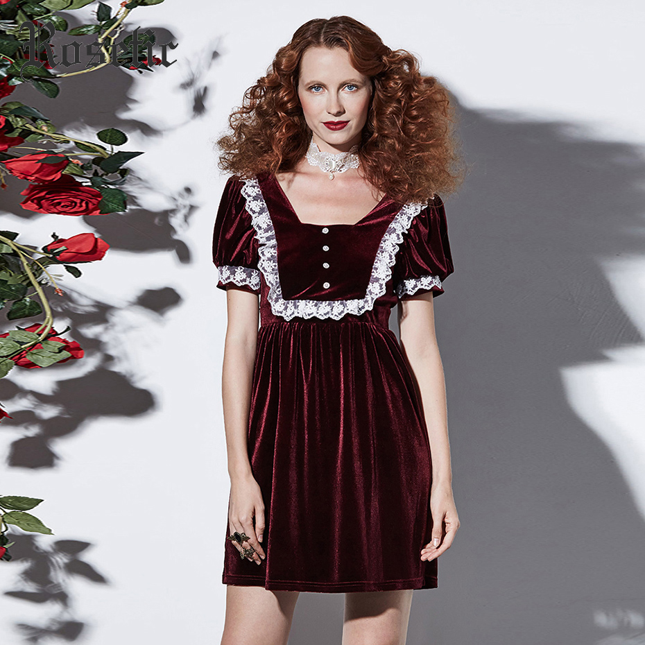 Rosetic Gothic Mini Dress Women Burgundy Vintage Patchwork Lace Fashion Elegant Retro Party Lolita Victorian Goth Short Dresses