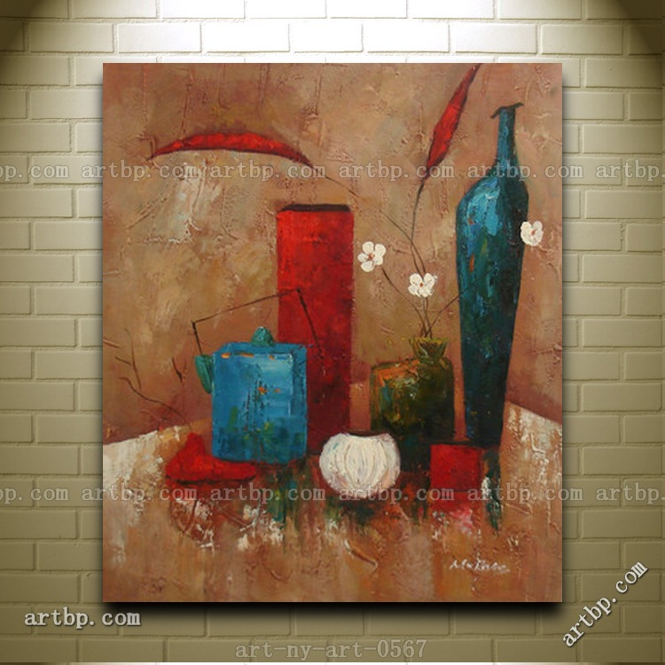 Contemporary Oil Painting Of Still Life Flowers Vase
