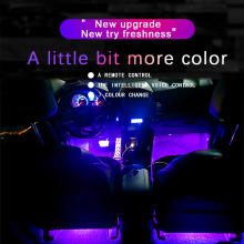 DXZ 18 LED Music Voice Sound Control Car Interior Decorative Atmosphere Auto RGB Pathway Floor Light Strip Remote Control 12V