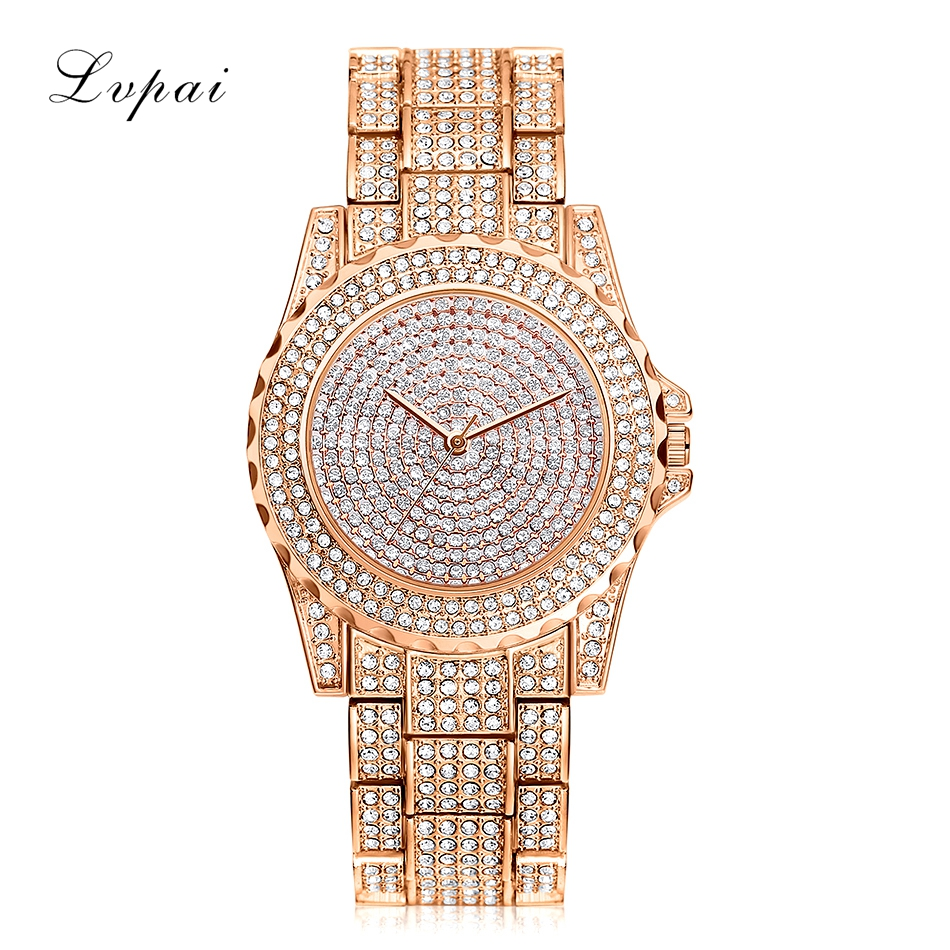 Lvpai Brand Luxury Women Watch Rose Gold Wristwatch Shinning Diamond Rhinestone Bangle Bracelet Wrist For Ladies Quartz Watches