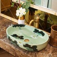 Lavabo de cerámica hecho a mano estilo europeo lavabo de baño lavabo de Porcelana vintage lavabo de baño loto ovalado