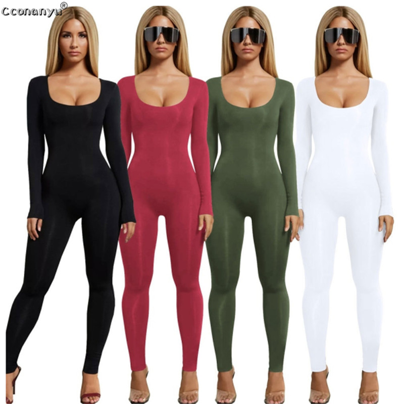 Jumpsuits For Women 2019 Sexy Black Long Sleeve Women Jumpsuit White Green Rompers Womens Jumpsuit Long Pants Solid Colors