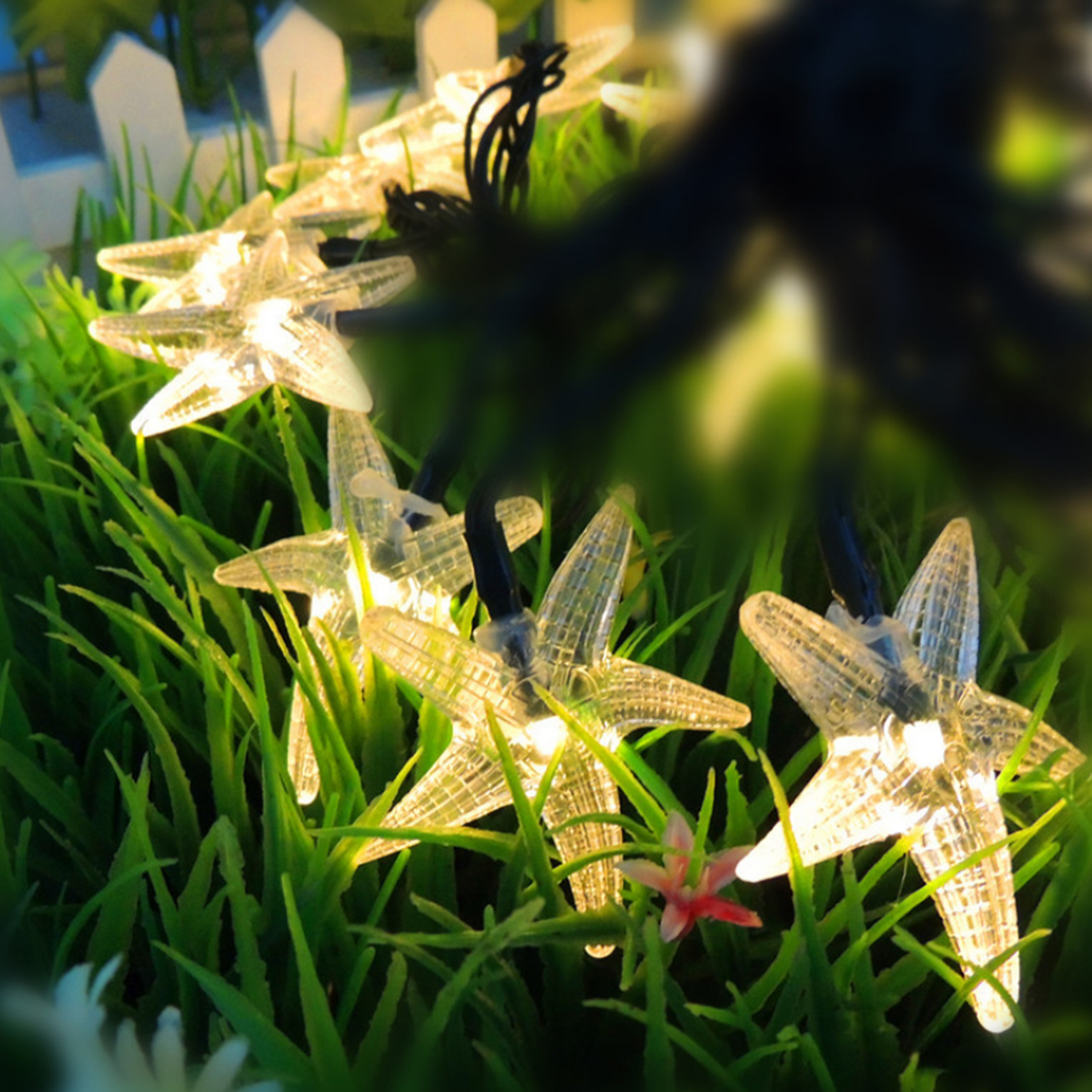 Iguardor 7M 30 LEDs Solar Powered Starfish Fairy String Light Party Decor Yard Garden Path Lamp