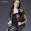 Hot Sale Real Fox Fur Vest Luxury Brand Women Outwear Coat Jacket Natural Silver Fur Vest Waistcoat Genuine Spell Fox Fur Gilet