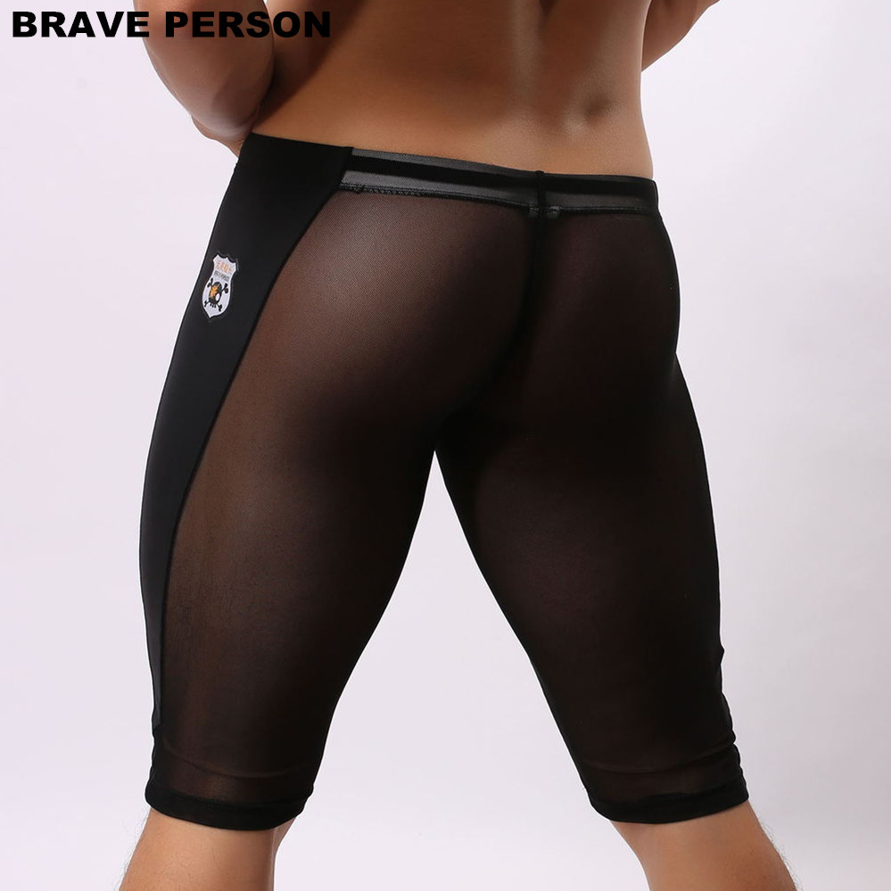 BRAVE PERSON Heren Sexy Transparante Beach Wear Shorts Man Board Shorts Multifunctionele knielange panty voor heren Trunks Shorts