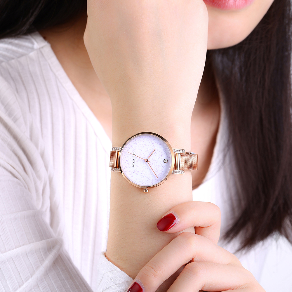 Brand Luxury Ladies Rose Gold Quartz Watch Women Watches Female Stainless Steel Bracelet Diamonds Wrist Watch MINI FOCUS Clock