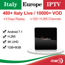 IPTV Italy France Spain Portugal Turkey Qatar ITHDTV Leadcool X Android 7.1 1G+8G 1 Year Box