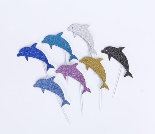 50pcs 624cm Dolphins Cupcake Cake Toppers For Wedding Party