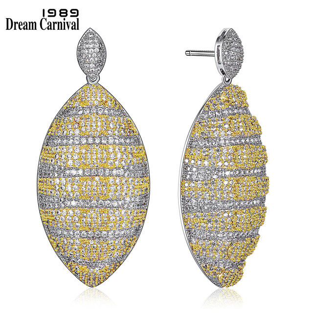 DreamCarnival 1989 Long Earings Statement Bridal Jewellery 2-Tone Color Micro Pave setting Zircon crystals Earrings drop SE21419