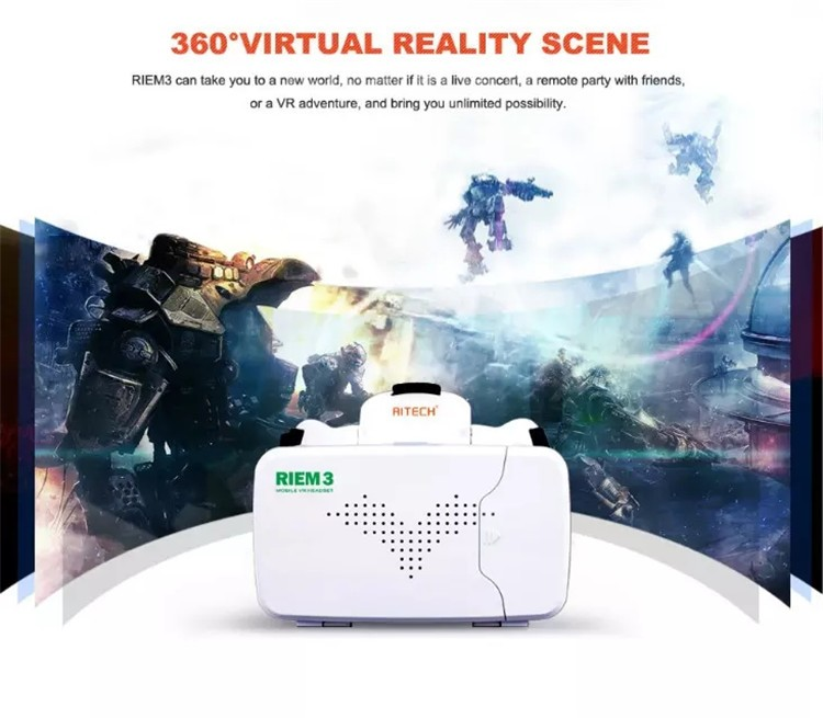 New Ritech III 3D VR Glasses RIEM3 Virtual Reality Head Mount Google Cardboard Oculus Rift DK2 Box for 4.7 ~ 6.0 Inch SmartPhone (2)
