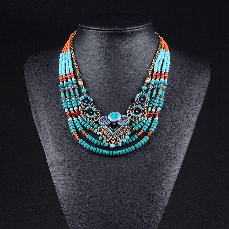 New Brand Fashion Big Beads Collar Choker Necklace Pendants Boho Multilayer Maxi Statement Necklace Women Jewelry
