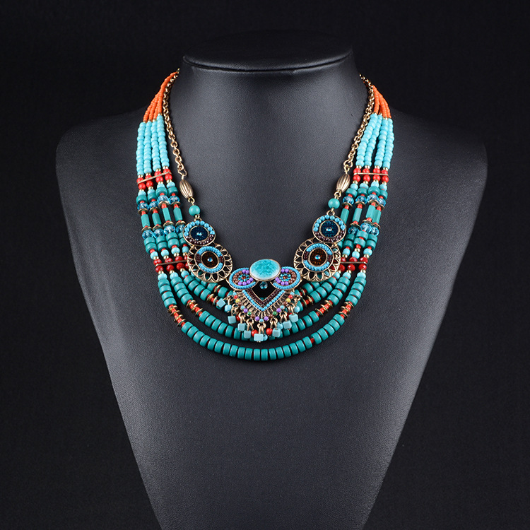 2018 New Brand Fashion Big Beads Collar Choker Necklace Pendants Boho Multilayer Maxi Statement Necklace Women Jewelry mjartoria crystal mystic statement necklace women maxi necklace fire pendants