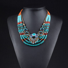 New Brand Fashion Big Beads Collar Choker Necklace Pendants Boho Multilayer Maxi Statement Necklace Women Jewelry недорого