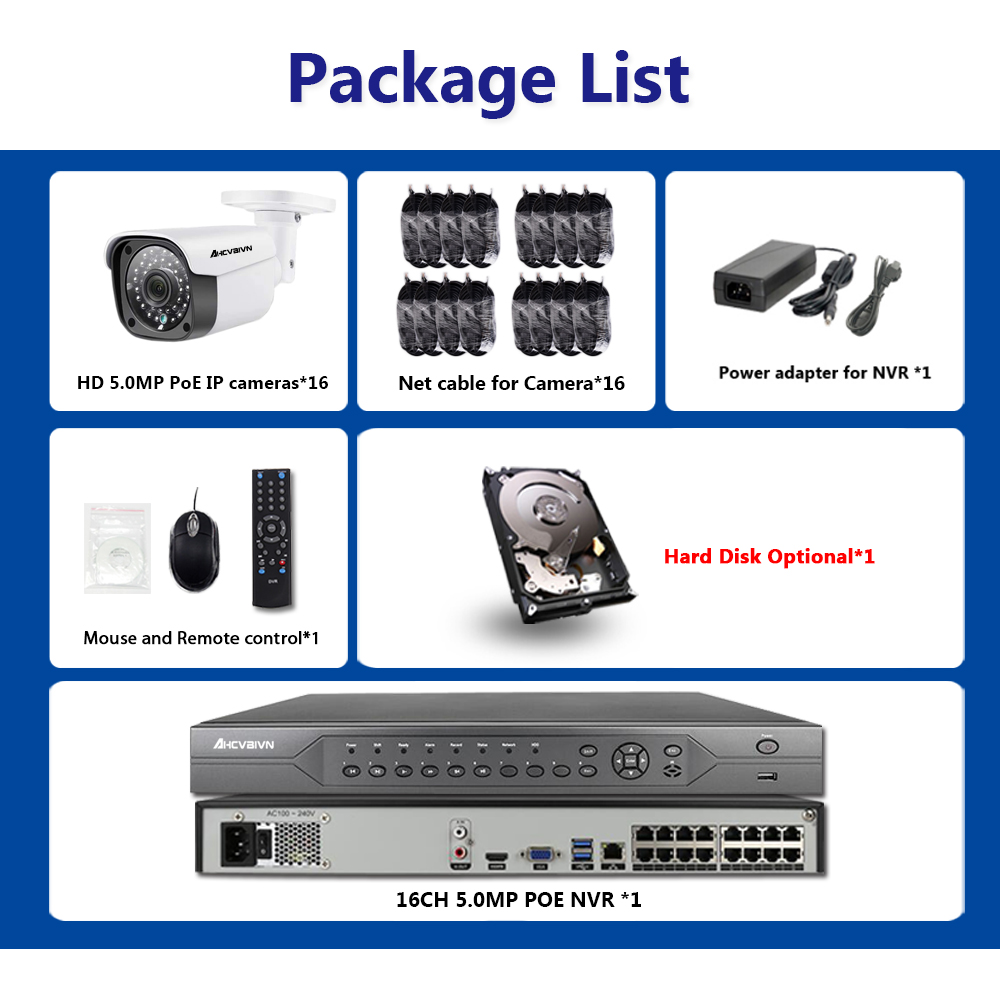 H 265 4K 5MP 16CH POE NVR Kit 16Pcs 5 0MP CCTV System Security POE IP Camera HD 5MP IP Outdoor Camera P2P HDMI NVR in Surveillance System from Security Protection