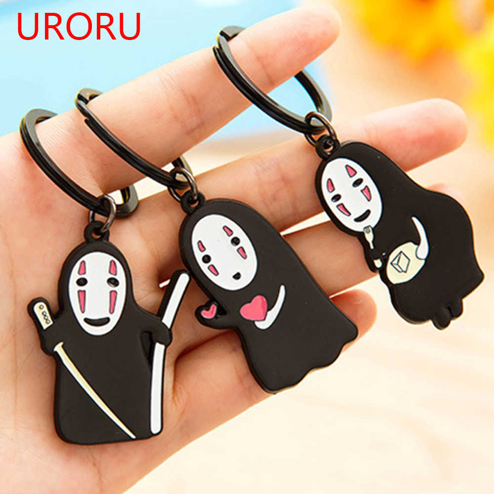 URORU Japanese Studio Ghibli Miyazaki Hayao Anime Spirited Away Kaonashi Cute Keychain No Face Key ring Pendant Kids Toy