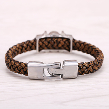 Death Note Silver Alloy Bracelets Leather Woven Punk Bangle