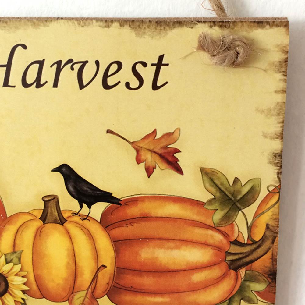 Happy Pumpkin Harvest Sign Hanging Plaque Thanksgiving Party Door ...