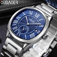 OUBAOER Mens Watches Top Brand Luxury Male Business Rome Clocks Sport Military Army Clock Steel Strap