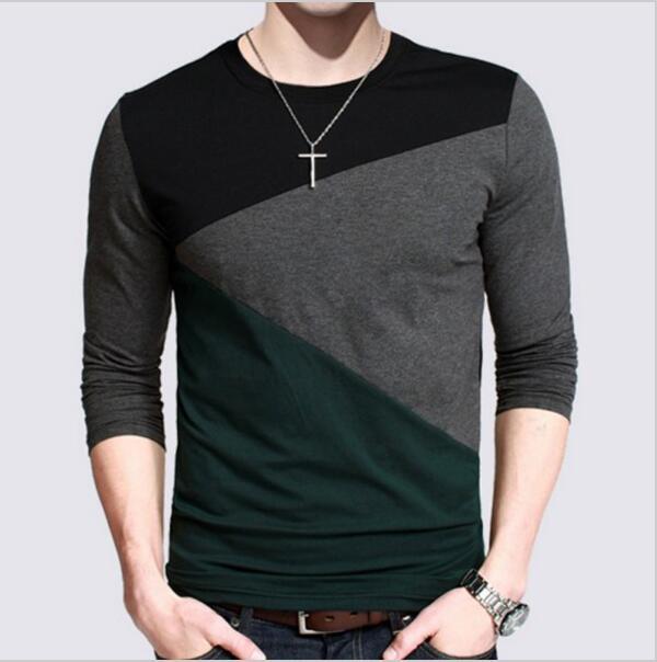 Brand clothing t shirt men designs slim fit long sleeve for Long sleeve t shirts design