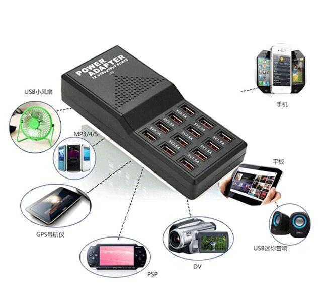Новый 5 В 12А USB Быстрое зарядное устройство Выход Макс 3.5A 12 Порта USB разъем Питания Быстро Зарядные Устройства для Мобильных Телефонов и Планшетов ЕС или США Plug