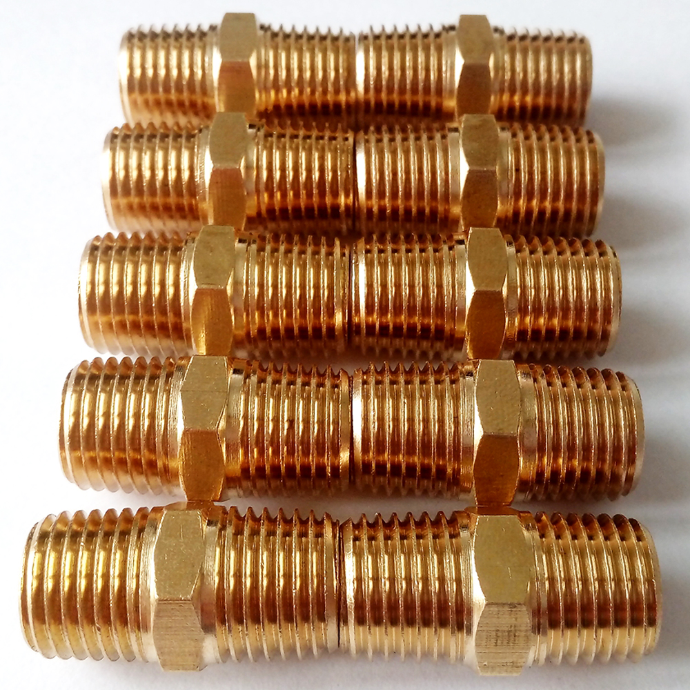 Pack of brass pipe fitting hex nipple quot male npt