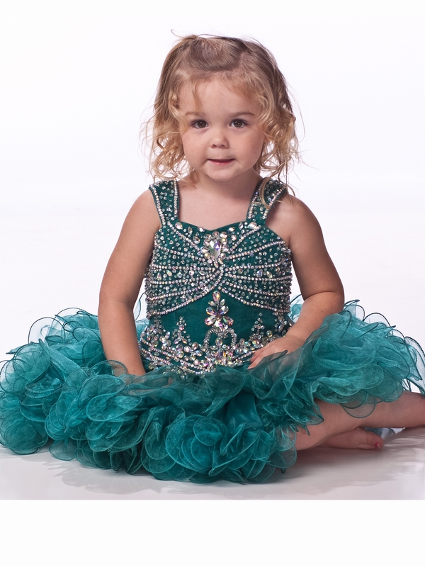 Fashion Ball Gown   Flower     Girl     Dresses   With Spaghetti Beaded Sequine Bodice Short Pageant   Dress   For   Girls   Zipper