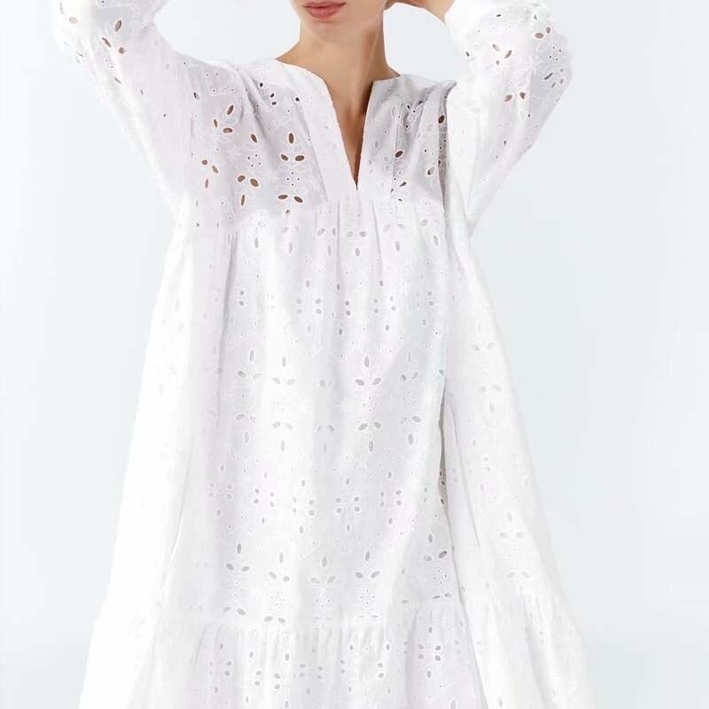 Summer women dress casual dress solid color openwork embroidery Vestidos