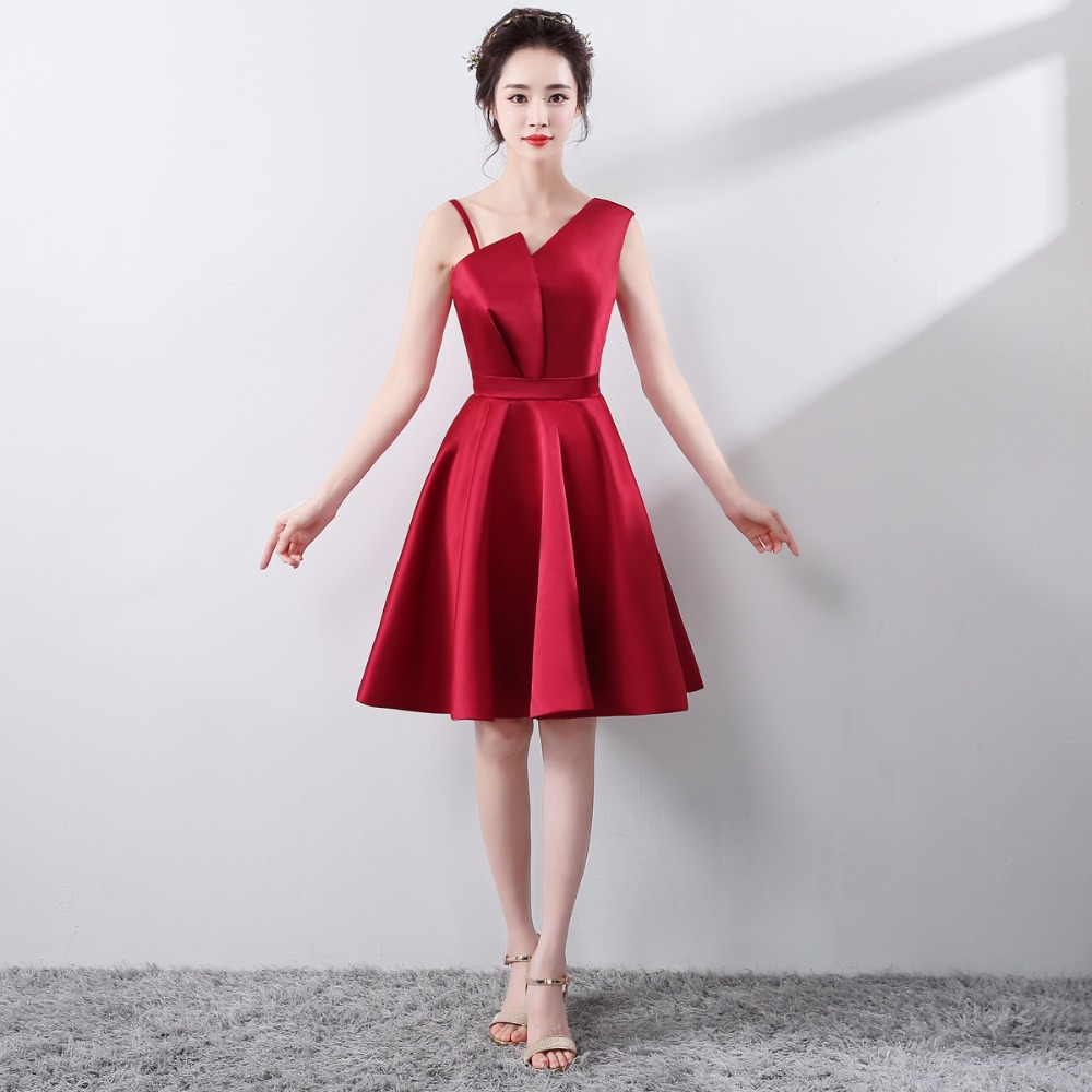 Dark Red Prom Dress Plus Size Knee length Sexy Cocktaill Dresses ...