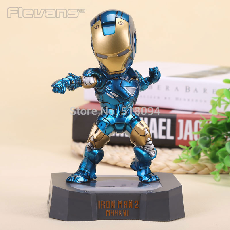 Marvel Egg Attack Iron Man Mark VI Blue Iron Man PVC Action Figure Collectible Toy with LED Light 7 18cm doit rc t300 metal wall e tank chassis
