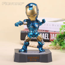 "Marvel Egg Attack Iron Man Mark VI Blue Iron Man PVC Action Figure Collectible Toy with LED Light 7"" 18cm(China)"