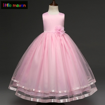 4-12 Yrs Girls Formal Dress Wedding Program Festival Ball Gown Kids Children Baby Girl Clothes Elegant Dress Pageant Vestido