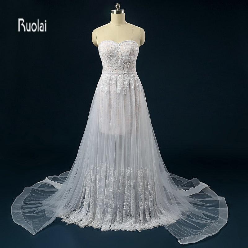vestido de noiva Strand esküvői ruha 2018 Kivehető szoknya Vállnélküli esküvői ruhák Menyasszonyi ruhák robe de mariee
