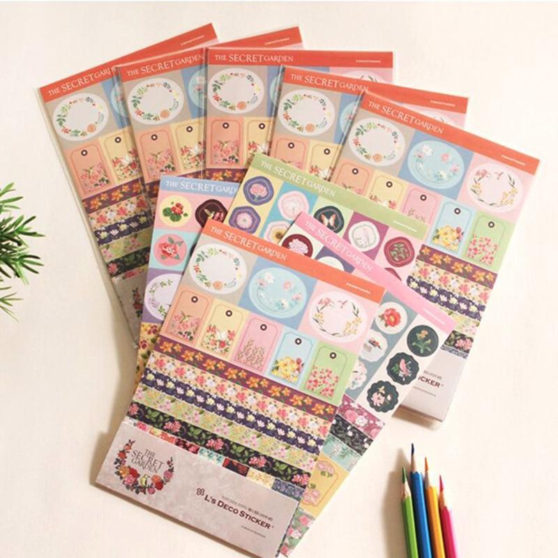 4 sheets/bag DIY Cute Kawaii Secret Garden Decorative Stickers Lovely Flower Sticker For Scrapbooking Student 556