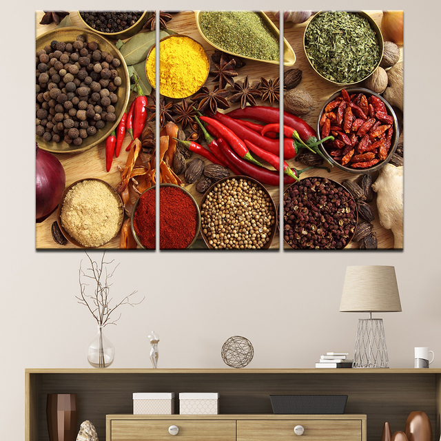 Canvas Paintings For Kitchen Wall Art HD Prints 3 Pieces Grains Spices Pictures Chilli Food Poster Modular Home Decor Framework
