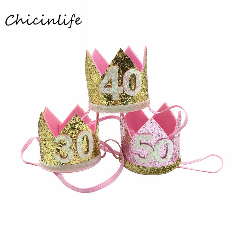 Chicinlife 1pcs 30 Crown Headband Women 30th Birthday Party Decoration Adult Hat Supplies In Hats From Home Garden On